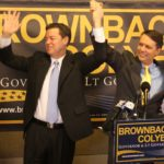 Sen. Sam Brownback, left, introduces Dr. Jeff Colyer, right, to a crowd during a two-day, eight-city tour across the state. Brownback, a candidate for Kansas Governor, announced that Colyer, a state senator, will be his running mate for the Republican nomination. The primary election is Aug. 3. Submitted photo