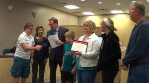 The Prothe family was recognized as the Special Olympics Family of the Year for the Kansas City Metropolitan Region in the Gardner city council chambers on March 21. Photo courtesy of Rick Poppitz