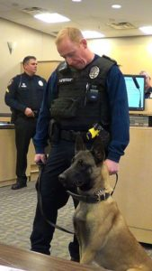 The Gardner police department's new K9 unit, Officer James Anderson and his partner Zeus, made an appearance at the March 21 Gardner City Council meeting. Photo courtesy of Rick Poppitz