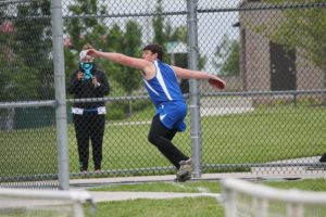 "GEHS junior Sam Stranathan will be one of the Blazers top returnees when the track season unfolds April 2 at SM South. He qualified for state with a discus toss of 135"" 2 last spring. Submitted photo"