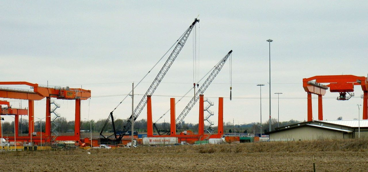 New cranes are being assembled at the BNSF Intermodal Facility