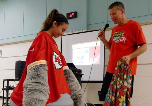 KC Wolf visits Spring Hill Middle School