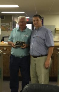 Marlin Chanay recently retired after 20 years as caretaker for the Johnson County Fair. He was recently honored for his service. Chanay is pictured with Jeff Bingham. Photo courtesy of Johnson County Fair Association