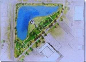 Artwork depicting a proposed memorial for fallen heroes at Navy Park in New Century Airfield was part of a presentation heard by the Johnson County Airport Commission on Oct. 26. Submitted graphic