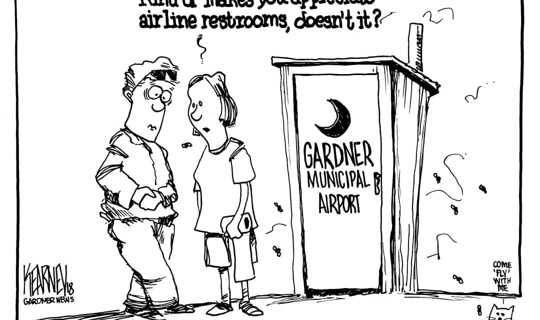 Bathroom at Gardner Municipal Airport has been broken for over a year. The City has placed a porta potty in front…