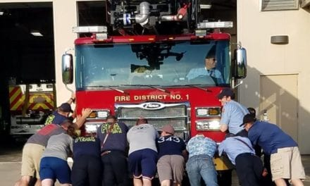 Johnson County Fire District #1 'push' new ladder truck into service