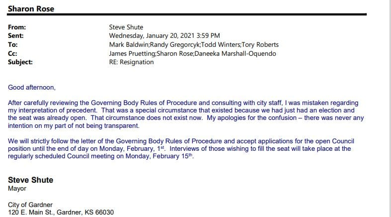 Shute issues apology to council regarding appointment process